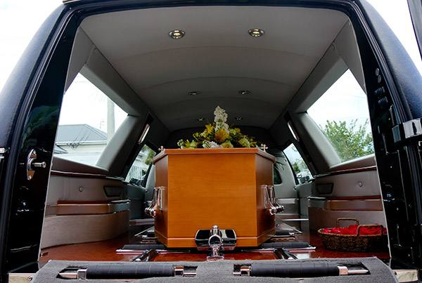 coffin inside a hearse