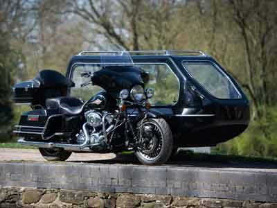 motorcycle and sidecar hearse